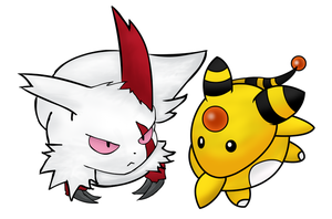 Zangoose and Ampharos by FlawlessTea