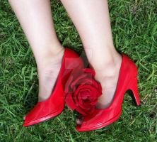 rosey red shoes by TraceyAnn23