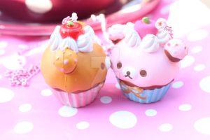 rilakkuma cupcake necklaces by KittywoodDesigns
