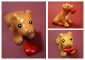 Valentine Pit Bull dog sculpture with heart by SculpyPups