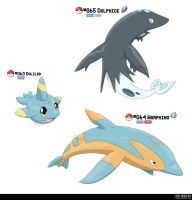 063, 064, 065 - Dolphin Fakemon by LeafyHeart
