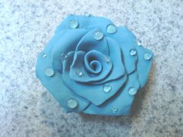 Teal dewdrop rose magnet by KitschyCustomCrafts