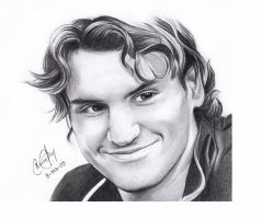 Roger Federer Portrait by CarinaT