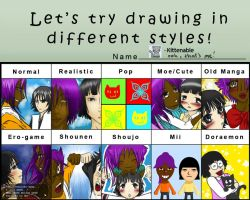 pixiv different styles meme by Kittenable