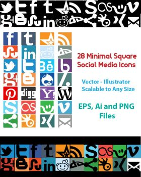 28 Minimal Social Media Icons by gamingphotographer