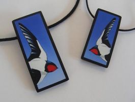 Swallow necklaces by OriginalBunny