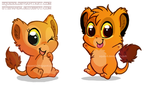 Chibi Nala and Simba by StePandy