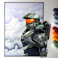 Master Chief - Copic Marker Drawing by LethalChris