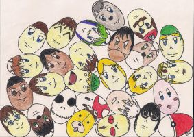 Easter Egg Faces by foxanime101