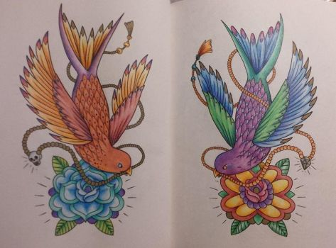 Megamundens-The Tattoo Colouring Book, Twin Birds by ColourSeeker