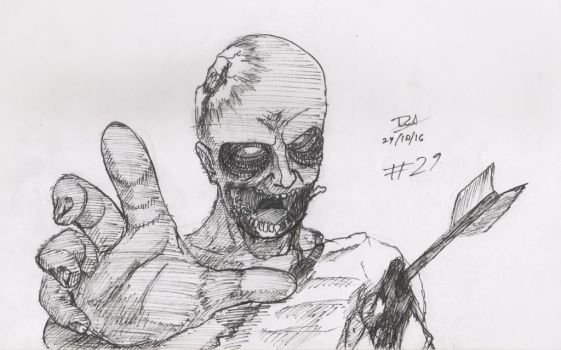 inktober day 29,   my first drawing about zombies by danielevel