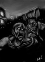 Zombien attack B and W by gerky-art