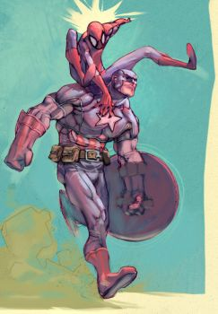 Spidey on Cap colors by ChristianNauck