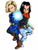 Android 17 and 18 colored by shenaku
