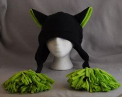 Limited Edition Black and Green Raver Cat Poms Hat by wikiwisemandotcom