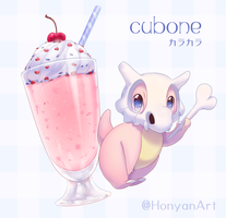 Cubone and Milkshake(strawberry) by LadyMurkrow