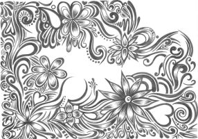 Grey floral Pattern2 by Zyari