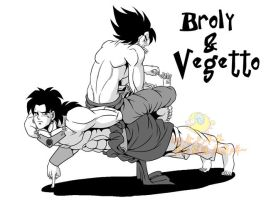 Broly and Vegetto by xuan2046