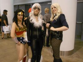 Wonder Woman, Black Cat, and Black Canary by Etrigan423