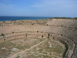 Amphitheatre in Lepcis Magna by Syltorian