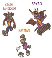 Spyro, Crash and Rayman by SEBASTIEN11