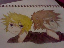 Sora and Roxas by ookamikiddy