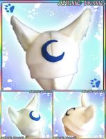 Custom White Wolf Hat with Crescent by AnimeNomNoms