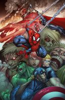 Attack on Avengers BANNER final by Sandoval-Art