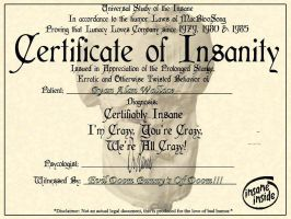 CERTIFICATE OF INSANITY by IrrelevantTheme