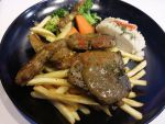 Lamb Chops with Fries and Mash by nosugarjustanger