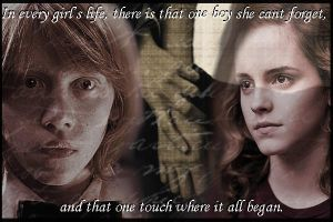 Ron and Hermione Touch by DreamsForTheCynic