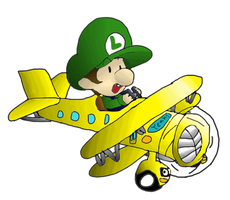 Baby Luigi Flies Magic School Bus Plane by BabyLuigiOnFire