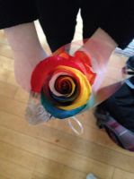 My Rainbow Rose (Top View) by Spazzygamergirl