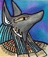 Egyptian god Anubis ACEO by jupiterjenny
