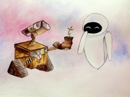 Wall-e and Eve by artbox99