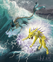 Vaporeon and Jolteon by SimonGangl