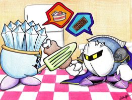 Battle-Food Kirby n Metaknight by Chicanda