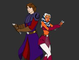 Ashoka and Anakin- colored by Cindrollic