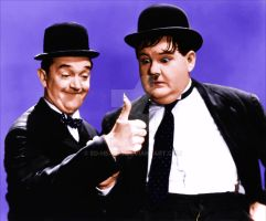 laurel and hardy(colourized) by Ed-Head73