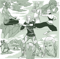 Roan and Impa Sketches I by Split-Heart
