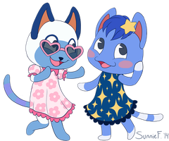 Animal Crossing - Mitzi and Rosie by SunnieF