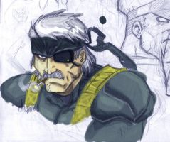 Metal Gear 4 - Old Snake by ONELOUSYCAT