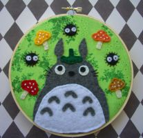 Green My Neighbor Totoro Embroidery Hoop by iggystarpup