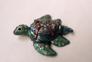 Steampunk'd Sea Turtle in Blue by tanyadavisart