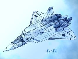 Sukhoi Su-54 pencil by TheXHS