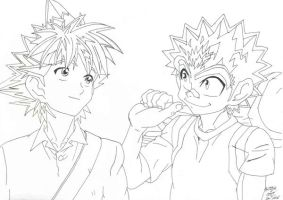 Sena and Monta lineart by Bakura-lover