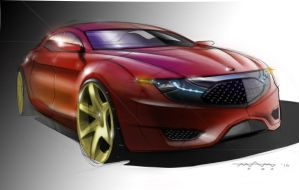 Red Sedan Rendering by Powerblock