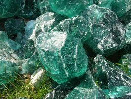 Green Melted Glass Rocks 4 by FairieGoodMother
