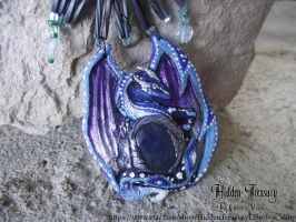 Frost Dragon Pendant OOAK by Hidden-Treasury