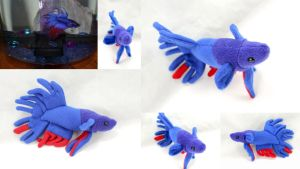 Custom Crown Tail Betta Fish Plush by BeeZee-Art